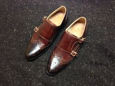 Wingtip double monkstrap on mocs brown with cordovan on toe.