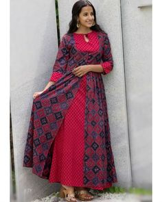 Shop online Berry red and blue set Layer it up in style with this stunning berry red maxi teamed with a matching deep blue cape with slits African Print Fashion, African Fashion Dresses, Red Kurti, African Dresses For Kids, Indian Fashion Designers, Red And Blue, Deep Blue, Modest Wear, Red Maxi