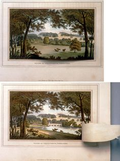 """Humphry Repton coined the phrase """"landscape gardening,"""" He showed his clients aquatints of before and after vistas from certain properties, such as these, entitled """"Water at Wentworth, Yorkshire""""."""