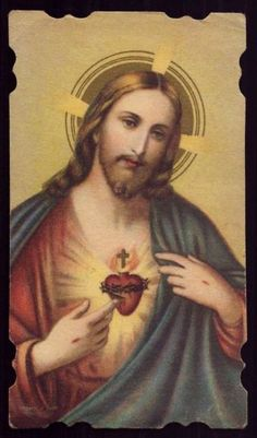 Sacred Heart Of Jesus Vtg Dat.  1943 Holy Card photo