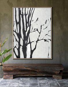 Black and white Tree Minimalist Art #MN7B acrylic painting contemporary art by CZ Art Design @CelineZiangArt