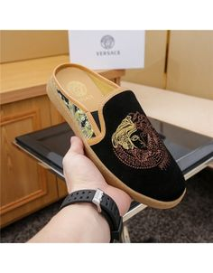 Versace Fashion Slippers For Men # 679842 - Dessandales Versace Slippers, Versace Shoes, Leather Slippers, Mens Slippers, Formal Shoes, Casual Shoes, Swaggy Outfits, Half Shoes, Fashion Slippers