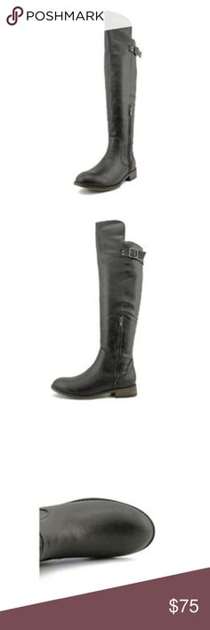 """New Unlisted by Kenneth Cole Sz 8  Black Boots New Unlisted by Kenneth Cole Women's Sz 8 Medium """"Beyond Time"""" Round Toe Imported Boot Height: Over The Knee Boots... Heel Height: Low 1"""" Heel Style Riding or Biker Boots. Boot Material: Faux Leather. Short 8"""" Side Zipper (see pic) New with out Box New With Out Tags. Never Worn Unlisted Shoes Over the Knee Boots"""