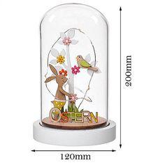 Easter Lighted Decration Wooden Bunny & Tree Glass Dome Table Top Figurine 20cm #ValeryMadelynDealsMarket #Easter