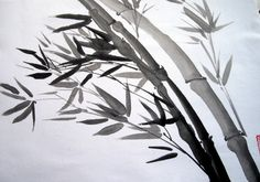 Bamboo in the wind sumi-e by MJ