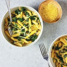 Pasta with spinach and chilli. Baby spinach leaves garlic and chilli come together in the time it takes to cook the pasta for an effortless weeknight winner. Spinach Pasta, Baby Spinach, Spinach Leaves, Speedy Recipes, Easy Pasta Sauce, Latest Recipe, Easy Weeknight Dinners, Pasta Dishes, Healthy Recipes