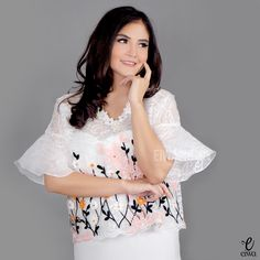 modern bell sleeve lace top, kebaya brokat organza, baju bodo http://www.eiwaonline.com