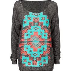 Comfy tribal print sweater. Want this!!