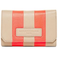 Liebeskind Elisa Striped Leather Wallet (1 690 UAH) ❤ liked on Polyvore featuring bags, wallets, koi beige, red leather wallet, red bag, leather credit card holder wallet, striped bag and beige wallet