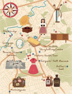 Zara Picken - Homes & Antiques magazine commissioned a map of Edinburgh, highlighting vintiquing destinations and places of interest.
