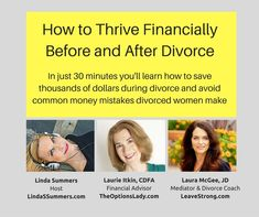 You will want to check out this show! In this half hour interview they shared tips on how to save thousands of dollars during divorce and avoid common money mistakes divorced women make!  They talked about how to make smart money decisions, how to divorce on a budget, managing your money and mediation and SO much MORE! The wealth of information these amazing women shared was incredible! If you are contemplating ending your marriage or in the process of a divorce, connect with these 2 women!
