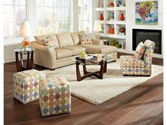 Omnia Beige Chaise Sofa & Ottoman - Value City Furniture