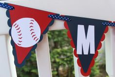 Baseball Birthday Name Banner by KellyKrockerKreates on Etsy, $23.00