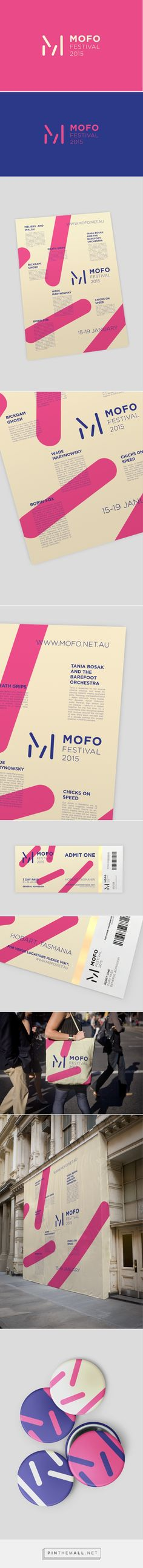 MOFO Festival by Harley Jackman. Like the use of the logo being deconstructed into simplified shapes that can be used across the identity, and used as pattern, but still identifies as the brand.