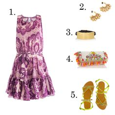 1. Zimmermann paisley print dress, $326, matchesfashion.com  2. Juicy Couture earrings, $38, shopbop.com  3. Saint Laurent leather and gold cuff, $295, netaporter.com  4. Accessorize embellished clutch, $91, accessorize.com  5. Oasis snakeskin print and neon sandals,$48, oasis.andotherbrands.com