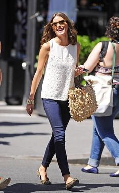 Shop this look on Kaleidoscope (top, jeans, flats, purse, sunglasses, bracelet)  http://kalei.do/W5VDt9HzardRnvEm