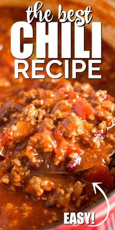 Low Unwanted Fat Cooking For Weightloss An Old Fashioned Chili Recipe Is The Best My Simple Recipe Combines Beef And Beans With A Robust Tomato Sauce And Spices For A Hearty Meal Youll Love. Its Easy, Delicious, Homemade Meal That Is Ready In Just Half An Chilli Recipes, Meat Recipes, Cooker Recipes, Crockpot Recipes, Mexican Food Recipes, Chili Recipe Crockpot Best, Simple Chili Recipe, Crock Pot Chili, Chili Recipe With Beans