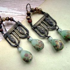 Discoveries of Ancient Pompeii, handmade earrings, agate, glass headpins, green brown, ooak, assemblage, earrings, ancient,  Anvil Artifacts on Etsy, $56.00