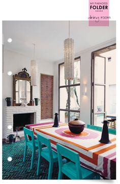 A modern ethnic dining room with amazing teal fishbone tiles floor. moroccan
