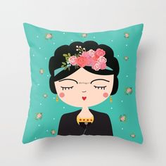 Frida Kahlo Pillow, Nursery Modern Pillow, Boho Girls Pillow, Mexican Folk Art, Cushion Cover, Folk Decorative Throw Pillow, Feminist art by hangAprint on Etsy https://www.etsy.com/ca/listing/277967236/frida-kahlo-pillow-nursery-modern-pillow