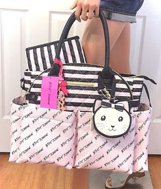 6335c781f79f BETSEY JOHNSON Diaper Bag Tote Pink Black Baby Shower Weekender Travel Gift  NWT 689852896131