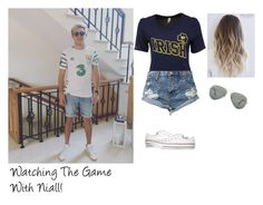 """""""Watching The Game With Niall!"""" by directioner-dxi ❤ liked on Polyvore featuring art, OneDirection, NiallHoran, Myboyfriend and TheGame"""