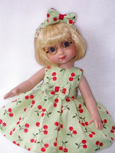 "CHERRY  LIME GREEN Doll Dress For Ann Estelle 10"" Tonner Littlest Angel"