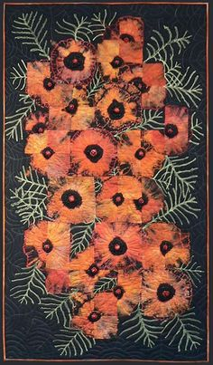 "Cynthia St. Charles Poppies on Black 28 x 49"" Cotton, bleach discharged, overdyed, overpainted, machine quilted, beaded Previous exhibitions: ARTfusion Gallery in Bigfork, Montana"