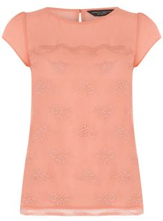 Coral scallop lace top
