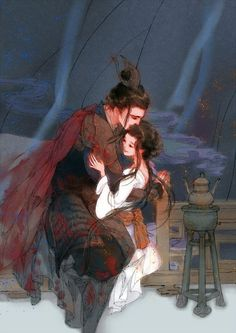 A loving moment between young General Lin and his sweetheart. Chinese Artwork, Chinese Drawings, Character Art, Character Design, Fantasy Couples, Anime Art Fantasy, Couple Art, Japan Art, Anime Love