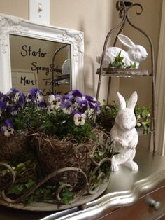 Shabby Chic Easter. Love the multi-tiered bunny holder thingy,