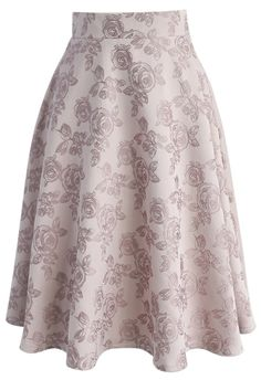 The sexy schoolhouse teacher look so becomes you, young lady! Step out in this light and airy jacquard midi skirt that boasts a subtle floral print atop a soft cream.  Pair with a chiffon blouse or tuck in a denim button-down to give it a casual flair. Either way, the rest of the world will surely be taking notes.  - Rose pattern - Concealed back zip closure - Lined - 100% polyester - Hand wash  Size(cm)Length   Waist XS               67 ...