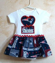 NFL Appliqued One piece Romper,New Enland Patriots Baby Tees, Sports Rompers, Rompers with skirt. 3T