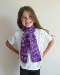 Chunky Double Knit Scarf Toddler/Child Size in Purple by HeavenBoundHCA, $12.50 USD