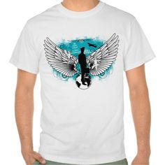 Kciafa men 2 A very nice design with two large white wings with angels, airplane, and a flight attendant upon the earth with a background blue sky.