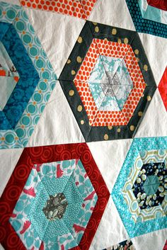 hexagons - lovely colours - a kaleidoscope