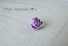 Handmade ring lila flower. Polimer clay Fimo.