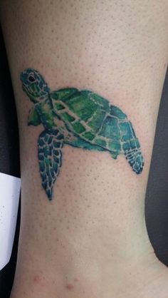 Watercolor sea turtle tattoo