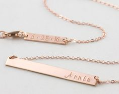 Rose Gold Bar Necklace Personalized Name Plate by LayeredAndLong
