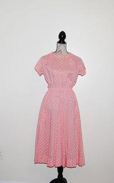 Vintage Dress Perfect Pink Polka Dot by CheekyVintageCloset, $24.00