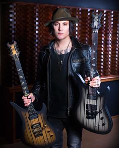 Schecter Guitars has shared a photo of Zacky Vengeance and Synyster Gates with their 2016 signature models. Avenged Sevenfold, Great Bands, Cool Bands, Schecter Guitars, Ibanez, Jimmy The Rev Sullivan, Zacky Vengeance, Synyster Gates, Welcome To The Family