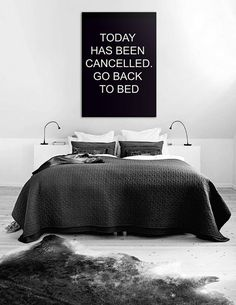 """Bedroom Decor """"Today has been cancelled. Go back to bed"""", Affiche Scandinave, Bathroom Art, Bedroom Wall Art 70x100cm 50x70cm, 24x36"""", A4"""
