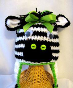 Crochet Zebra Hat Crochet Animal Hat Crochet by KnitsandTidbits, $18.00