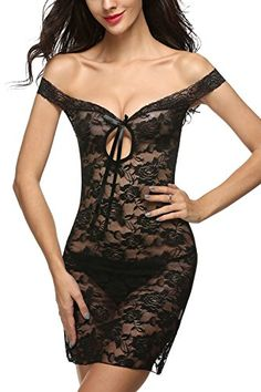 Avidlove Women See-through Lingerie Lace Chemise Floral Nightgowns Outfits Black (FBA) S Avidlove
