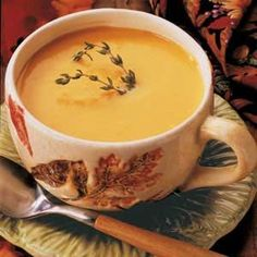 Roasted Butternut Squash Soup - A family favorite! Its creamy & flavorful but not an overpowering squash flavor, if you love garlic use 2 whole bulbs. Roasting the vegetables enhances the wonderful flavors. I make large batches & freeze them. Heats up great in the crockpot