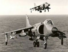 Royal Navy Sea Harriers landing during Falklands War Falklands War, Navy Aircraft, F 16, Royal Navy, Armed Forces, Air Force, Fighter Jets, Aviation, Military