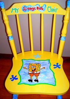 SALE Hand Painted Spongebob Squarepants Kids Chair by WallworxxEtc, $27.00