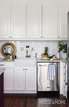 Parisian Influenced Bistro Kitchen | Les Ensembliers Interiors | House & Home | Designer: Richard Ouellette | Photographer: André Rider | #kitchen #kitchendesign #subwaytiles