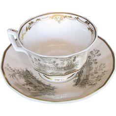 Copeland & Garrett Cup & Saucer, Felspar Porcelain, Antique