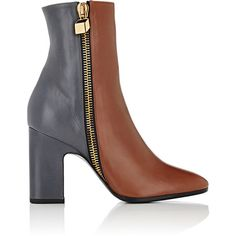 Pierre Hardy Women's Colorblocked Leather Ankle Boots ($809) ❤ liked on Polyvore featuring shoes, boots, ankle booties, ankle boots, no color, block-heel ankle boots, chunky high heel boots, leather ankle booties, leather boots and leather ankle boots